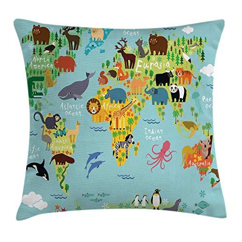 WANDERLUST Funda de cojín para almohada Mapa de animales del mundo Dibujos animados para niños Bosque...