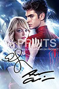 """The Amazing Spider-Man Spiderman Poster Photo 12x8"""" Signed PP Andrew Garfield Emma Stone"""