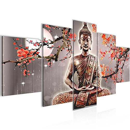 Bilder Buddha Feng Shui Wandbild Vlies - Leinwand Bild XXL Format Wandbilder Wohnzimmer Wohnung Deko Kunstdrucke Grau 5 Teilig - MADE IN GERMANY - Fertig zum Aufhängen 500652b