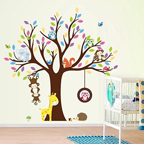 albero-fiore-colorato-simpatici-gufi-giraffa-scimmia-scoiattolo-adesivi-murali-adesivi-da-parete-dec