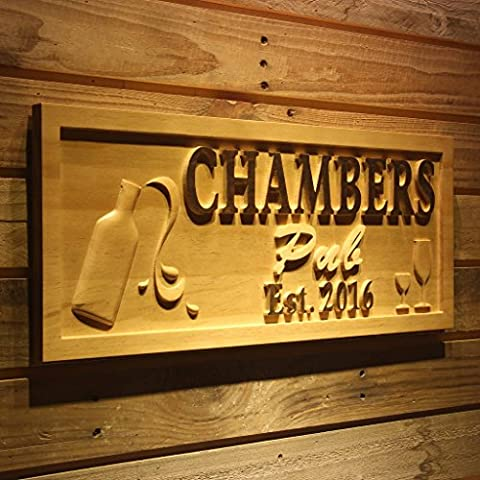 wpa0230 Name Personalized Pub Champagne Est. Year Wood Engraved Wooden Sign