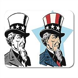 Luancrop Mausunterlage-Karikatur-Amerikaner-Uncle Sam Hat Amerika-Flaggen-Freiheits-Regierung Mousepad für Notizbücher, Tischrechner-Mausunterlagen, Büroartikel