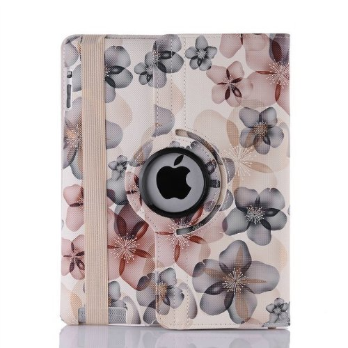 Custodia in pelle FUCSIA 360 ° Smart Case rotante per iPad 2 e 3 e 4 Display con funzione di messa in stand by automatica (fiore fortunato 02)