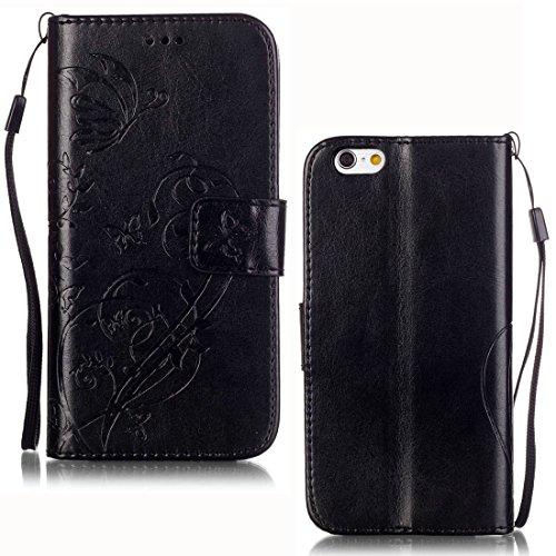 Yaking® Apple iPhone 6/ 6S Coque, PU Portefeuille Étui Coque Stand Flip Housse Couvrir impression Case Cover pour Apple iPhone 6/ 6S Noir