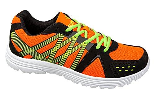 GIBRA® Herren Sportschuhe, sehr leicht und bequem, orange/schwarz/neongrün, Gr. 41-46 orange/schwarz/neongrün