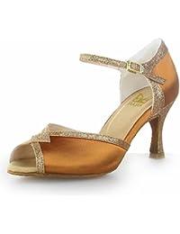 Jia Jia Y20529 Damen Sandalen Ausgestelltes Heel Super-Satin mit funkelnden Glitter Latein Tanzschuhe