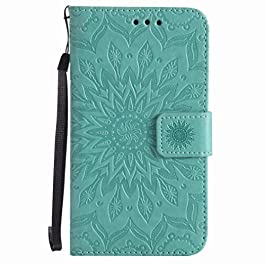Yiizy Case Cover for Microsoft Lumia 640 LTE Case, Sun Petals Design Premium PU Leather Slim Flip Wallet Cover Bumper Protective Shell Pouch with Media Kickstand Card Slots (Green)