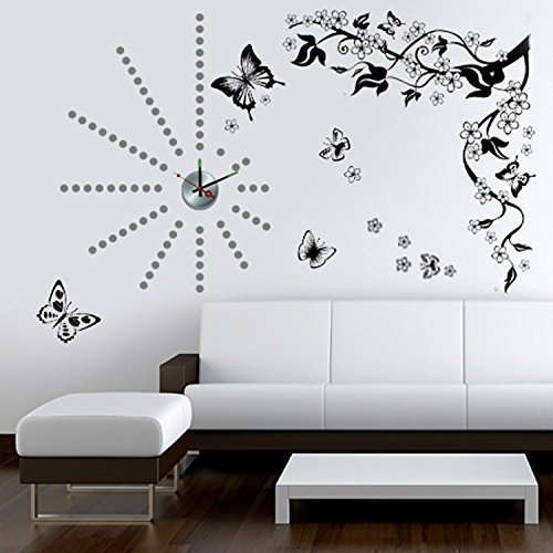 WALPLUS Stickers decalcabili da parete con motivo a farfalle e pois