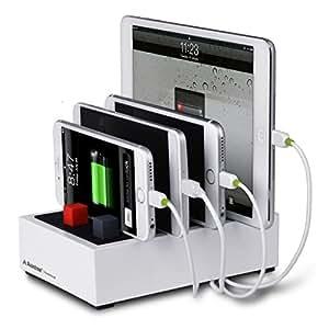 Avantree PowerHouse Chargeur USB et Station de charge Multiple de Bureau pour Équipements divers, Support à Charge Rapide avec 4 Ports 4.5A et Gestion de Câbles pour iPhone iPad Tablettes etc