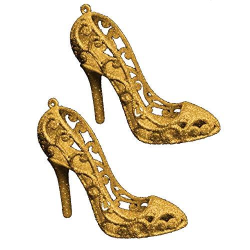 Gold Glitter Stilettos Weihnachtsbaum Dekorationen - 9cm x 8cm - Girly Weihnachtsdekorationen Glitter Stiletto