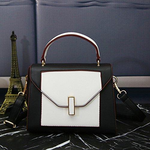 WTUS Damen Neue Handtasche Schultertasche Messenger Bag Gleicher Absatz PU-Leder Handtaschen Beuteltote Schwarz