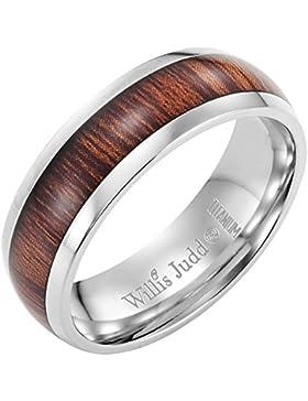 Willis Judd Herren-Ring, Titan mit Holz-Einsatz, inkl. Samt-Geschenk-Box