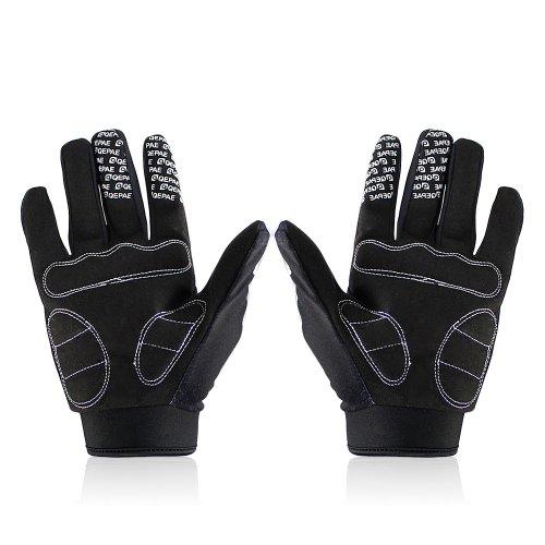 Lerway MTB Fahrrad Voll Finger warmen Radsport Fahrrad Handschuhe Herren Motorrad Vollfingerhandschuhe Herren Fahrradhandschuhe (Schwarz-L) - 2