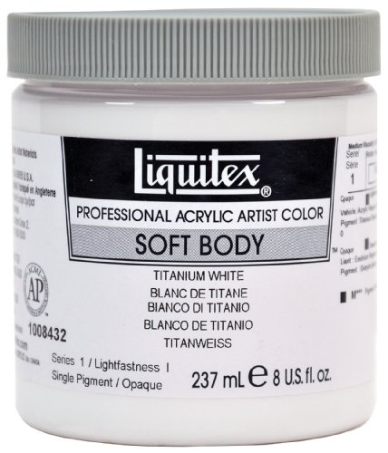 Liquitex 1008432 Professional Soft Body Acrylfarbe, 237 ml Topf, für feine Details, Lasuren, Airbrusharbeiten, Malen auf Textilien, Fresken, titanweiß