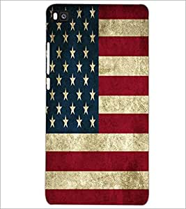 PrintDhaba US Flag D-5529 Back Case Cover for HUAWEI P8 (Multi-Coloured)