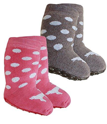 EveryKid Ewers 2er Pack Babystoppersocken Sparpack Stoppersocken Mädchensocken ABS Socken Antirutsch (EW-221034-W17-BM0-3085-1650-17/18) in Schlamm-Puderrosa, Größe 17/18 inkl Fashionguide