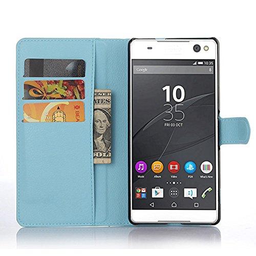 Tasche für Sony Xperia C5 Ultra (6 zoll) Hülle, Ycloud PU Ledertasche Flip Cover Wallet Case Handyhülle mit Stand Function Credit Card Slots Bookstyle Purse Design blau