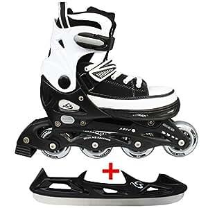 Cox Swain Sneak Kinder Inline Skates & Kinder Schlittschuh 2 in 1 - größenverstellbar ABEC5, Colour: black, Size: XS (29-32)