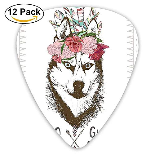 Aztec Floral Head Portrait Of Siberian Husky Dog Tribal Arrow Kitsch Guitar Picks 12/Pack
