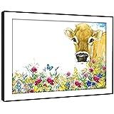 BFA746C gerahmtes Bild Druck Wandkunst - (Brown Aquarell-Blumen Kuh) Modernes Tier Wohnzimmer Schlafzimmer Stück Wohnkultur Leicht Hang Guide (58X41cm)