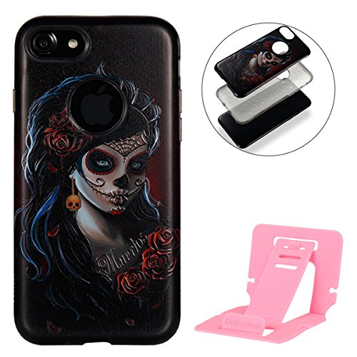 iphone 7 plus Silicone Cover, Custodia per iphone 7 plus Rigida, iphone 7 plus 5.5 pollici 2 in 1 Cover, Ekakashop Ragazza Serie Fashion Moda Sollievo Painting Colorato Pattern 3d Gel Silicone Gomma M Pendente a scheletro