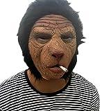 Nihiug Halloween Horror Cap Beauté Et Bête Props Monkey Monkey Monster Orang-outan Ape Man Homme Déprimant Le Masque De Zombie Avec Les Cheveux,A