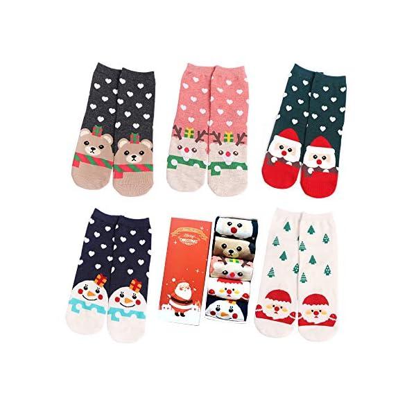 LIKERAINY Ragazze Donna Calzini Cotone Modello Animale del Fumetto di Natale 3D Calza Caldo Babbo Natale e Alce 5 Paia 1 spesavip