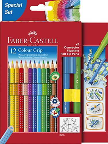 Faber-Castell – Estuche de cartón con 12 lápices de color Grip, 2 rotuladores Connector, 2 clips Connector y plantilla con motivo de escarabajo, multicolor (201396)