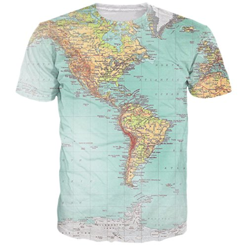 Loveternal Herren Vereinigte Staaten Karte T-Shirt 3D Muster Gedruckt Beiläufige Grafik Sommer Kurzarm Tops Tee XXL