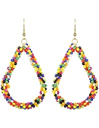 The Indian Handicraft Store Tear Drop Trendy Multi Colour Beads Ring Earrings In Handmade Jewellery