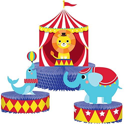 Creative Converting 340062 Centro de mesa con diseño de animales de circo, multicolor, 12 pulgadas de elefante (1): 7.75 pulgadas x 7 pulgadas de sello (1): 5.25 pulgadas x 8 pulgadas, 1 unidad