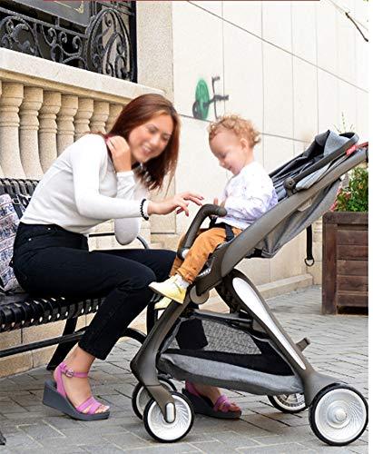 Imagen para QZX Carrito de bebé Sillón Plegable Ligero Ajuste el Respaldo en múltiples ángulos con Reflector LED fácil de Quitar y Lavar Cesto Cerrado para 0-5 años