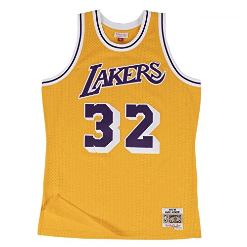 Mitchell & Ness - Maillot NBA swingman Magic Johnson Los Angeles Lakers Hardwood Classics Mitchell & ness jaune taille - L