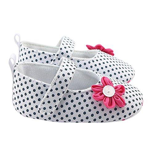 MiyaSudy Baby Schuhe Neugeborenen Mädchen Polka dots Blume Anti-Rutsch Schuhe Erste Wanderer 0-18 Monate Weiß