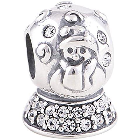 Pupazzo di neve, in argento Sterling 925, compatibile con braccialetti Pandora, Biagi, Troll & braccialetti