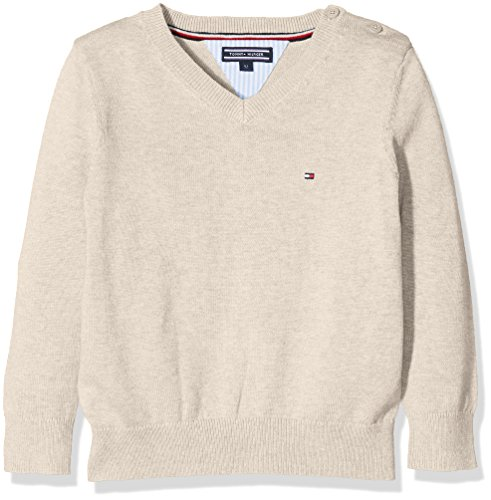 Tommy Hilfiger Jungen Pullover AME VN Sweater L/S, Elfenbein (Cornstalk Htr 259), 140 (Herstellergröße: 10)