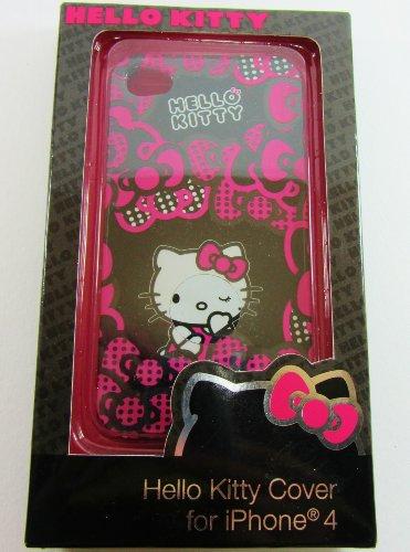 Hello Kitty Schutzhülle für Apple iPhone 4, Pink/Schwarz -