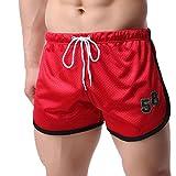 MOIKA Herren Strand-Shorts, Sommer Herren Shorts Fitness Bodybuilding Mode Lässig Kurze Hosen Casual Strandhosen Bermuda Shorts Badeshorts(L2,Rot)