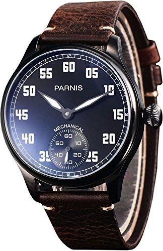PARNIS 2148 mechanische Herrenuhr Handaufzug PVD Edelstahl Armband-Uhr Seagull ST36 Mineralglas Zwiebelkrone Lederarmband verglaster Rückboden