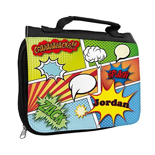 Kulturbeutel mit Namen Jordan und Comic-Motiv für Jungen | Kulturtasche mit Vornamen | Waschtasche für Kinder