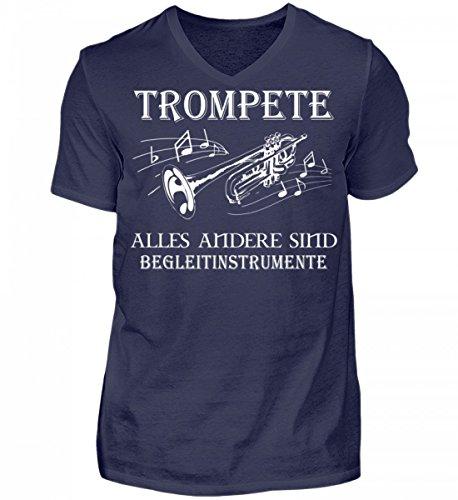 Hochwertiges Herren V-Neck Shirt - Trompete Shirt · Musiker · Blasmusik · Musik · Musikinstrument · Musikverein · Hobby · Lustig · Spruch · Pulli · Jacke · Hoodie · T-Shirt · Geschenk (Mit Hoodie Musikinstrumenten)