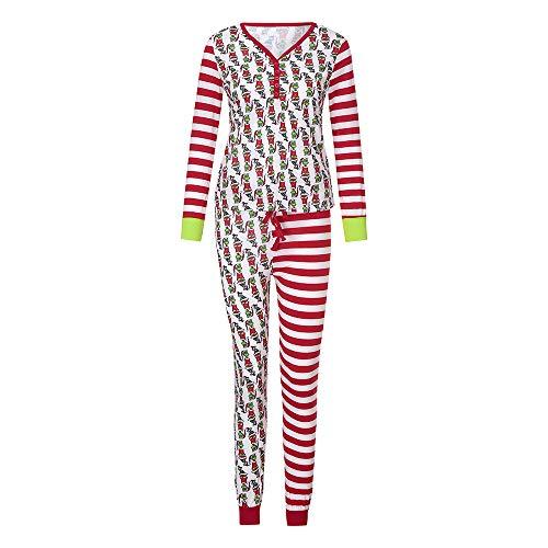 Pyjamas Set Hosen T-Shirt Nachtwäsche Familie Weihnachten Anzug Kaiki Soft Langarm Patchwork Kind Schlafanzug (L,Mutter)