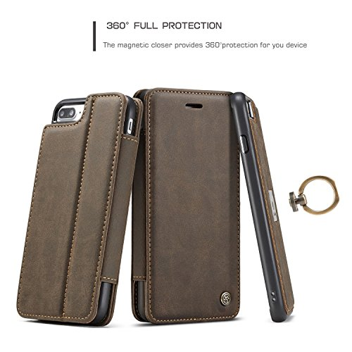 EKINHUI CaseMe Luxus abnehmbare 2 in 1 Magnetic Finger Ring Wallet Case mit Card Slot und Stand für Apple iPhone 7 Plus iPhone 8 Plus ( Color : Yellow ) Coffe