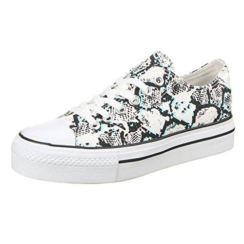 Damen Schuhe, YD106, FREIZEITSCHUHE Schwarz Grün