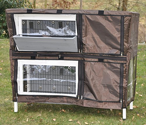 Passgenaue Schutzhülle / Wetterschutzhülle für Kaninchenstall Serie Bunny - braun