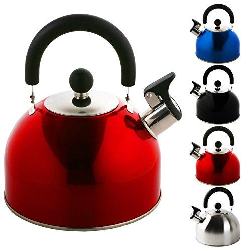 KROLLMANN 2,5 Liter Edelstahl Flötenkessel in verschiedenen Farben Teekessel Wasserkocher Pfeifkessel (Rot)