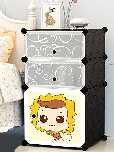 Flashing-DIY Cartoon élégant résine ABS cabinet de lit en plastique, mini enfants armoires de rangement, casiers simples Simple cabinet de lit moderne avec portes (taille : 39 * 37 * 75cm)