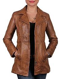 Damen Tan Lammfell Long Jacket mit Etikett und 100% Echtes Leder Jacke