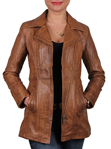 Brandslock para mujer chaqueta de motorista real cuero vendimia (L/12)