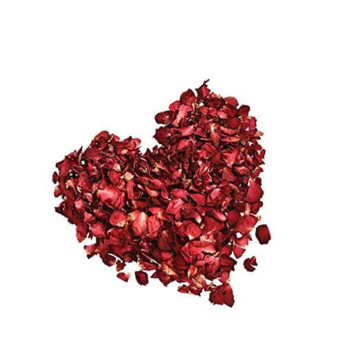 Lvcky 100 g getrocknete Rosenblätter rot echte Blume Rosenblüten für Bad Fuß Bad Hochzeit Konfetti Basteln Zubehör 1 Tasche -